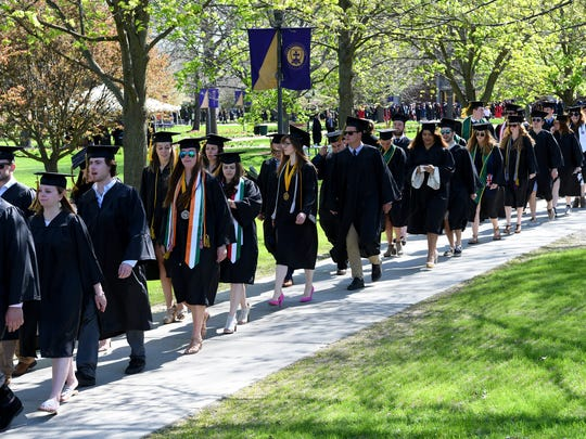 St. Michael's College class of 2018 graduates marched to the commencement on Sunday, May 13, 2018