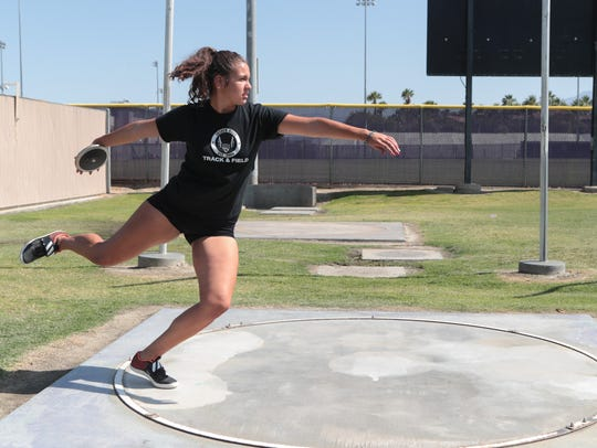Shadow Hills discus thrower Victoria Soto takes a practice