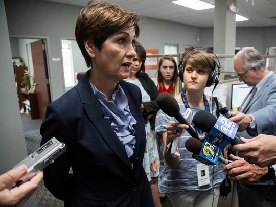 Iowa Governor Kim Reynolds holds a news conference