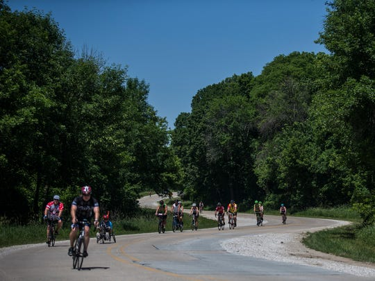 Bikers ride into Ledges State Park on day three of the 2018 RAGBRAI Pre-Ride Route Inspection, Tuesday, June 5, 2018, in central Iowa.