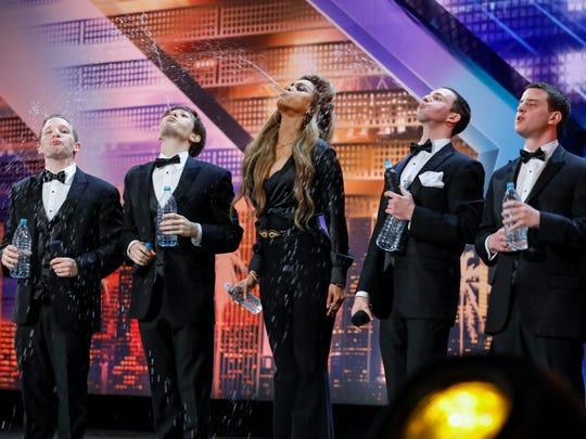 'America's Got Talent' host Tyra Banks, center, put