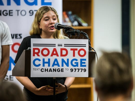 Jaclyn Corin, a Marjory Stoneman Douglas High School student and organizer of the March for Our Lives movement, speaks during a news conference at Sioux City's North High School on Wednesday, June 20, 2018, during the March for Our Lives tour stop in northwest Iowa.