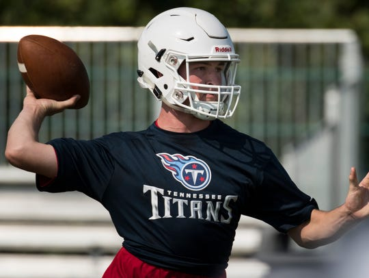 Oakland senior Brevin Linnell prepares to throw the ball during the Tennessee Titans 7-on-7 Tournament at Saint Thomas Sports Park Wednesday.