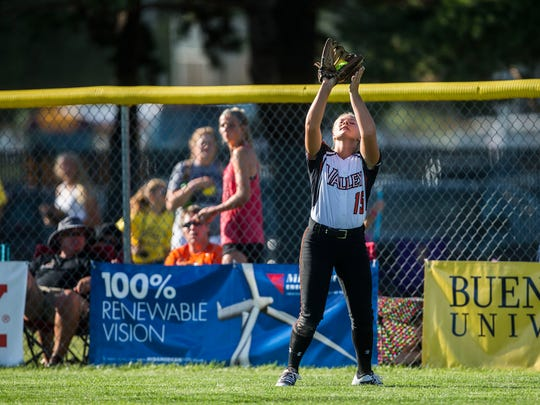 Valley's Megan Decker makes a catch during the state softball quarterfinal between West Des Moines Valley and Johnston on Tuesday, July 17, 2018, at the Rogers Sports Complex in Fort Dodge.