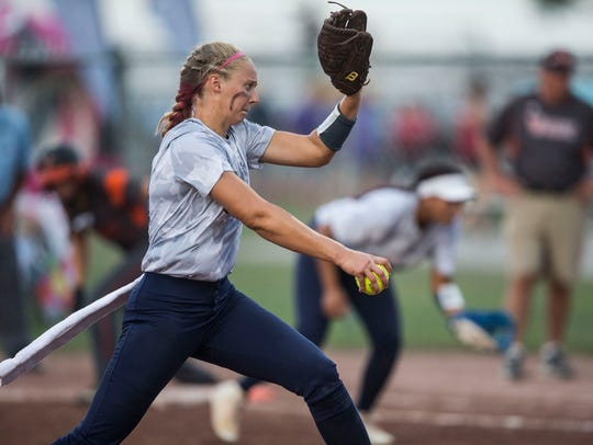 Pleasant Valley's Ellie Spelhaug pitches during the
