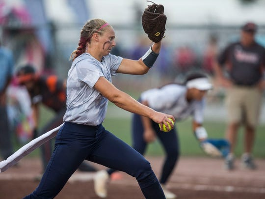 Pleasant Valley's Ellie Spelhaug pitches during the state softball semifinal between West Des Moines Valley and Pleasant Valley on Wednesday, July 18, 2018, at the Rogers Sports Complex in Fort Dodge.