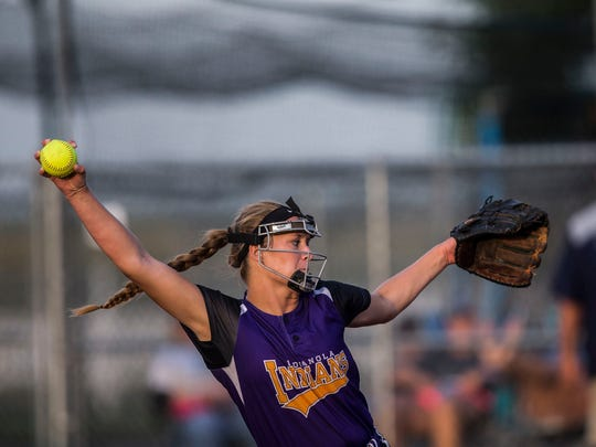 Indianola's Sydney Sickels pitches during the state softball semifinal between Indianola and Cedar Rapids Jefferson on Wednesday, July 18, 2018, at the Rogers Sports Complex in Fort Dodge.