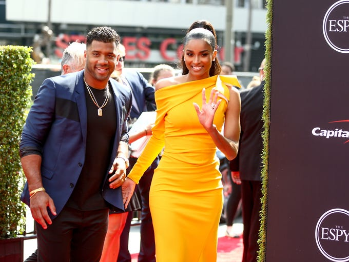 Russell Wilson and Ciara attend the 2018 ESPYS at Microsoft