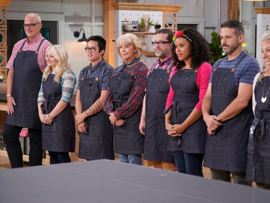 "The ""Making It"" competitors: Jeff (from left), Joanna Gick, Khiem, Jemma, Robert, Amber, Billy, and Nicole."