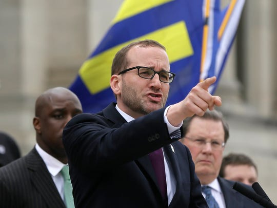 Chad Griffin, national president of the Human Rights Campaign, speaks at a rally at the Arkansas state Capitol in Little Rock on Wednesday. House Bill 1228, which Gov. Asa Hutchinson did not sign into law, is viewed as legislation that will sanction discrimination based on sexual orientation.