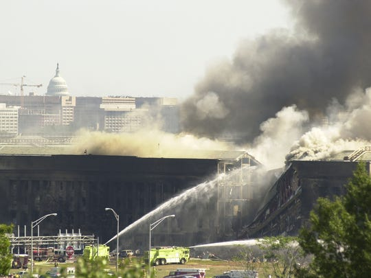 The Pentagon following the crash of American 77 on