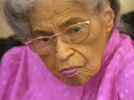 Rosa Parks is shown during her 90th birthday celebration