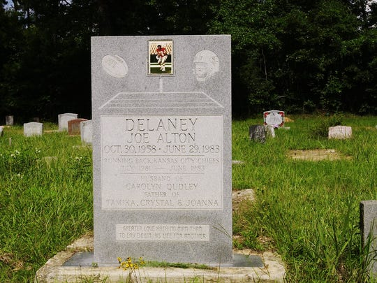 "Joe Delaney is buried in Hawkins Memorial Cemetery north of Haughton. His gravestone reads ""Greater Love Hath No Man Than To Lay Down His Life For Another."""