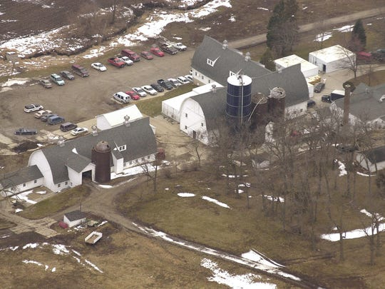 An aerial view of the large barns at Maytag Dairy Farms