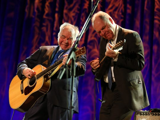 Artists John Prine, left, and Pat McLaughlin perform at the Opry House on New Year's Eve Dec. 31, 2017.