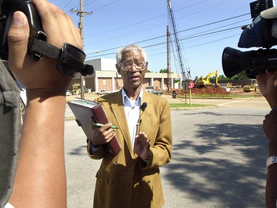 In this 2001 file photo, John Allen is shown being interviewed by reporters about a public meeting he planned to discuss changes in Rapides Parish's school system. At the time, Allen already had served as a School Board and Alexandria City Council member.