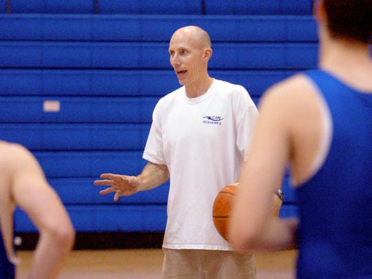 Community School Varsity Basketball coach Bill Carufe directs practice as head boys basketball coach at Community School in January 2007. Carufe recently was named the director of basketball operations at Seacrest and will coach the Stingrays boys team.