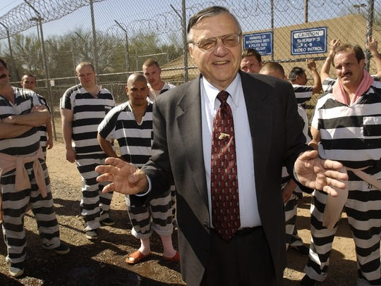 Former Maricopa County Sheriff Joe Arpaio talks to