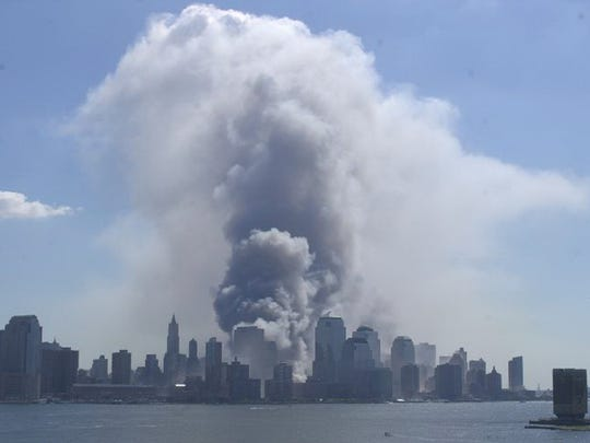 Lower Manhattan as seen from Hoboken on Sept. 11, 2001.