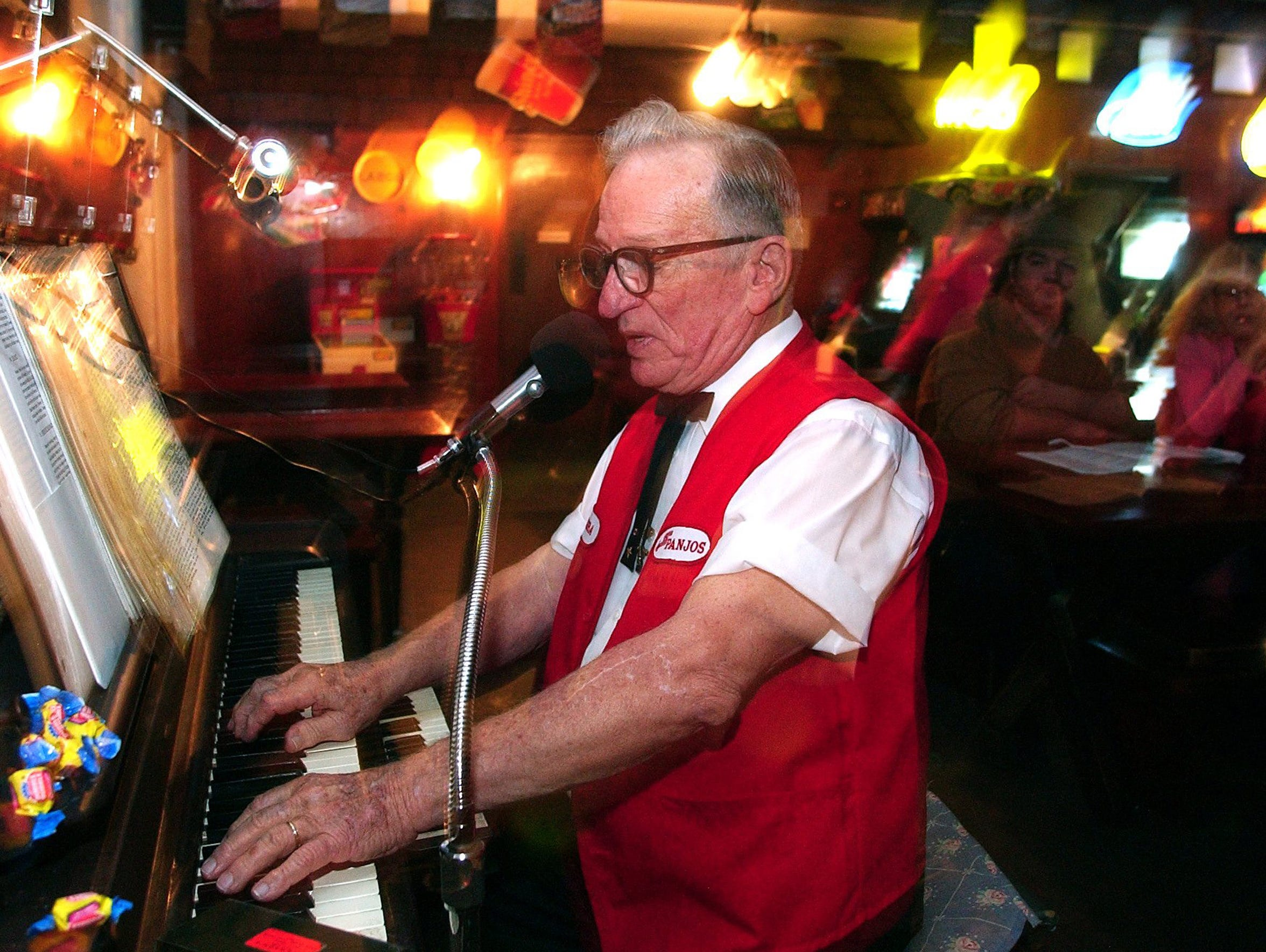 Bubba Jacob plays piano at Panjo's Pizza in February
