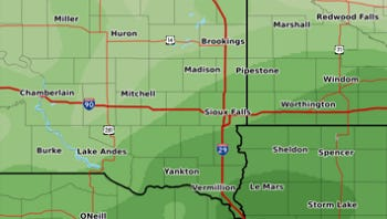 Chance of rain for southeast South Dakota. The darker the green, the more likely for high amounts of rain.
