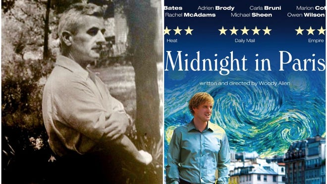 """Author William Faulkner with his dogs. Movie poster for Woody Allen's """"Midnight in Paris."""""""