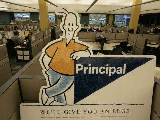 "This 2008 file image shows Principal Financial Group's former mascot ""Eddie"" with the company's ""edge"" logo."