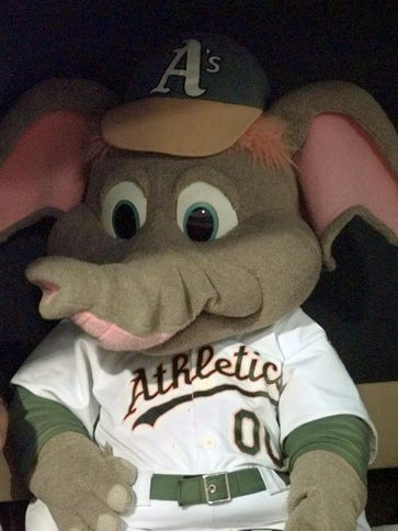 Stomper is the mascot of the Athletics.