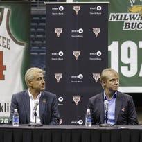 Milwaukee Bucks owners Marc Lasry, left, and Wesley Edens.