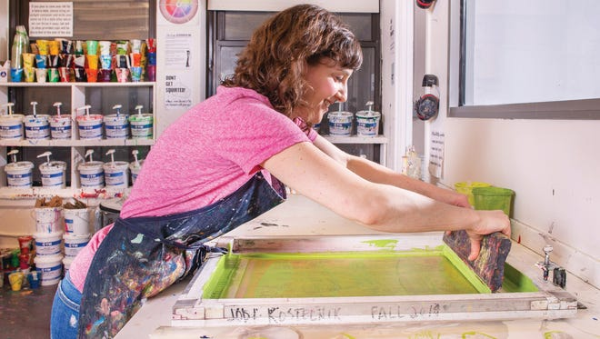 Jodi Kostelnik, a Washington, D.C.-based maker of food-themed screen prints. She will be one of the initial sellers on Amazon's Handmade by Amazon marketplace, which opened Oct. 8, 2015.