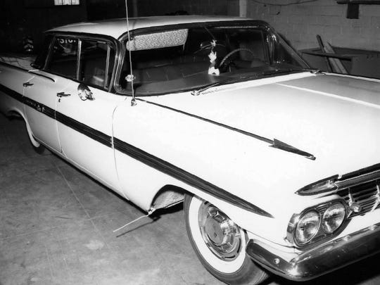 Joyce Sterrenberg and Tim McKillop were found dead in the desert northeast of Scottsdale and Bell roads lying outside this Impala on May 24, 1962. The trail would lead to William Macumber, who  later would be tried for the murders and sentenced to life behind bars. He was set free after serving 37 years.