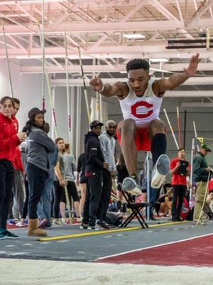 Former South Effingham track standout Darius Scott attempts the triple jump while competing for Cornell University during the 2018-19 season. Scott sat out last season while rehabbing a partially torn knee ligament.