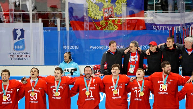 Olympic Athletes from Russia sang the Russian anthem after beating Germany for hockey gold.
