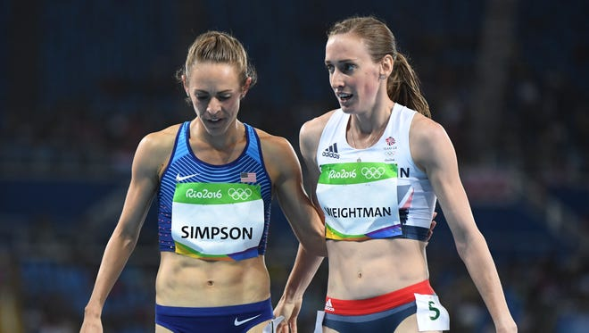 Jenny Simpson (USA) and Laura Weightman (GBR) react after competing in a women's 1,500 heat at Estadio Olimpico Joao Havelange during the 2016 Rio Summer Olympic Games on Aug. 12.