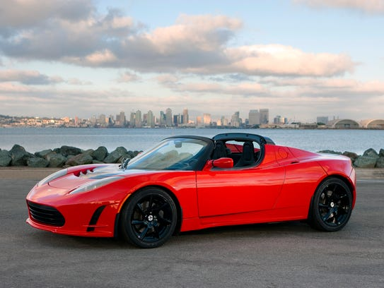A Tesla Roadster similar to the one Elon Musk said