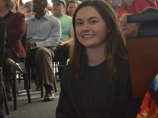 Pineville High School student Isabelle Riche brought a petition she started that had more than 600 signatures to the special meeting of the Rapides Parish School Board Tuesday.