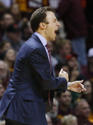 Minnesota head coach Richard Pitino yells during the Jan. 2 game against Michigan State, in Minneapolis. Pitino's team is winless in Big Ten play.