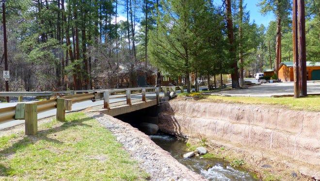 A modest flow continues on the Rio Ruidoso at First Bridge in Ruidoso.