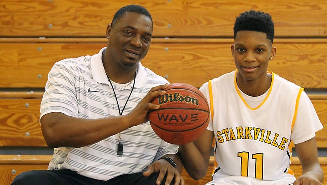 Tyson Carter, right, has played for his father Greg on Starkville's varsity squad since he was a sophomore.