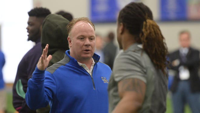 UK head coach Mark Stoops during the UK football Pro Day workouts for NFL scouts at Nutter Indoor Facility in Lexington, Ky., on Friday, March 4th, 2016.