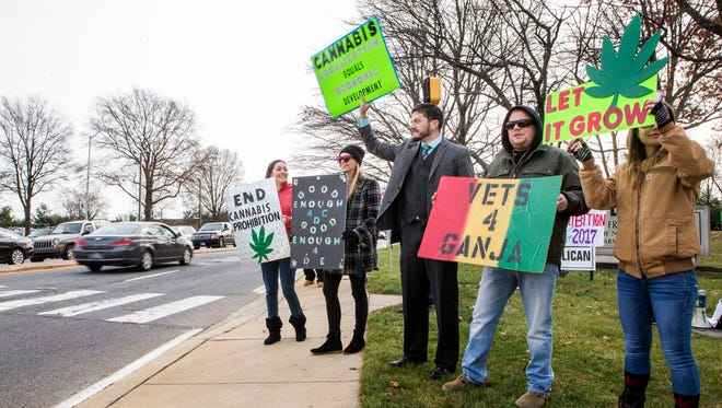 Marijuana advocates demonstrate support for legalization at the corner of Library Avenue and East Main Street in Newark late last year.