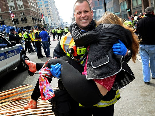 In this April 15, 2013, file photo, Boston Firefighter