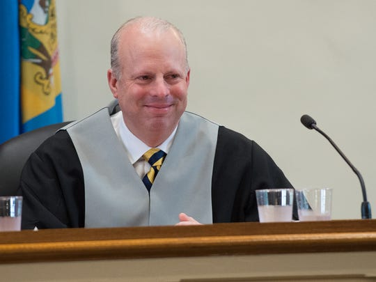 Vice Chancellor Joseph R. Slights III  after  being sworn in by Leo E. Strine, Jr., Chief Justice, Supreme Court of Delaware at the Kent County Courthouse in Dover.