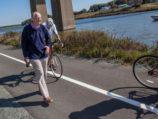 Former U.S. Congressman Mike Castle takes a walk on the trail named after him next to the C&D Canal.