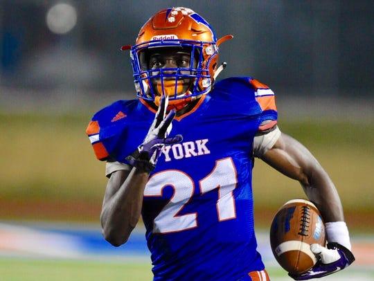 York High running back Khalid Dorsey runs the ball