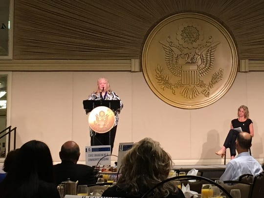Anne Siebecker gives a speech during the Jefferson Awards Foundation's annual event in Washington, D.C. on June 22, 2017.