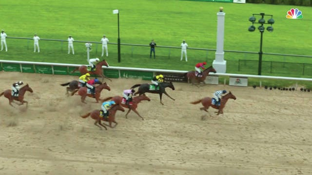 In this image taken from video provided by NBC Sports, Secretariat, right, crosses the finish line to win a computer-simulated version of the Kentucky Derby horse race between the 13 winners of the Triple Crown in Louisville, Ky. The race was part of NBC's substitute programming after the Kentucky Derby was postponed by the coronavirus pandemic.