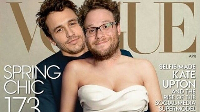 James Franco wasted no time in Photoshopping himself and pal Seth Rogen into Kim Kardashian and Kanye West's  'Vogue' cover.
