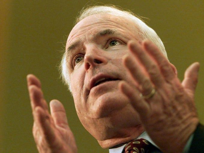 Sen. John McCain, R-Ariz., speaks Feb. 12, 2001, at