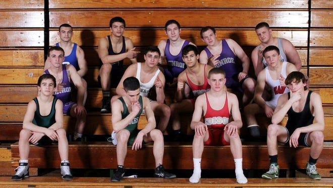 Home News Tribune All Area Wrestling 2015. Photographed at East Brunswick High School on Tuesday March 17,2015. L TO R: LOWER ROW:106: Joe Heilmann (South Plainfield); 113: Mark Schleifer (East Brunswick); 120: Robert Cleary (Edison); 126: Ryan Walsh (South Plainfield) MIDDLE ROW:132: Sal Profaci (Monroe); 138: Dan Hedden (South Plainfield); 145: Billy Povalac (Edison); 152: Bryan McLaughlin (Woodbridge) TOP ROW:160: Eliias Vega (Carteret); 182: Mike Gargano (Old Bridge); 195: Pat Dressel (Monroe); 220: Nick Goff (Monroe); 285: Anthony Porcaro (Sayreville).